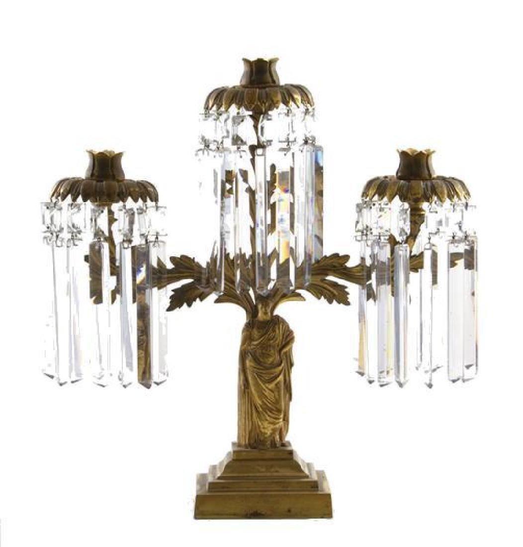 19thc Gilt Brass Three Light Girandole - 2