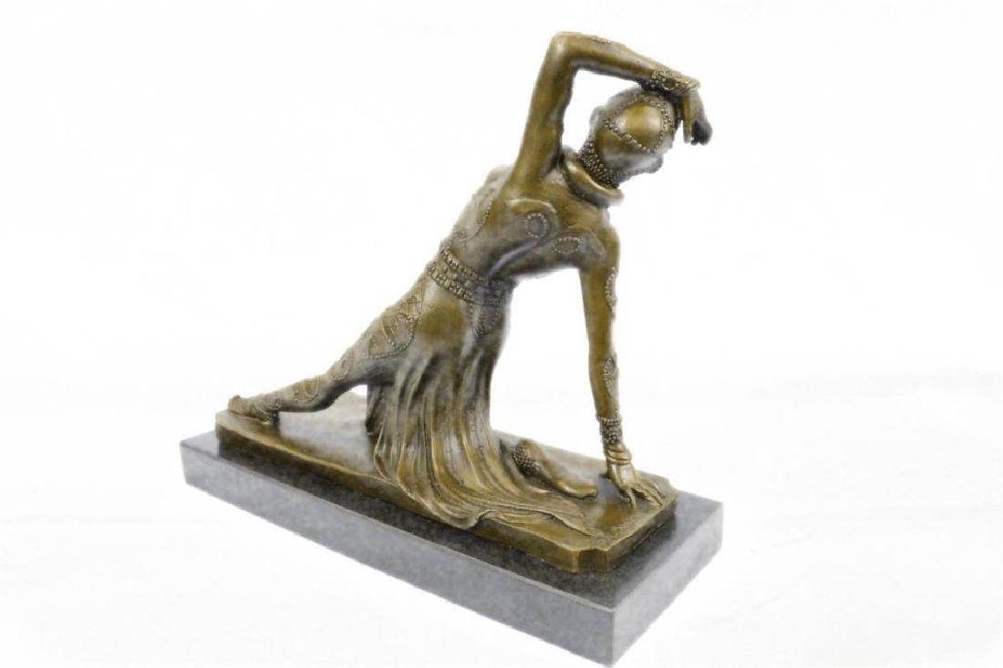Art Deco Show Girl Dancer Bronze Sculpture Figurine - 3