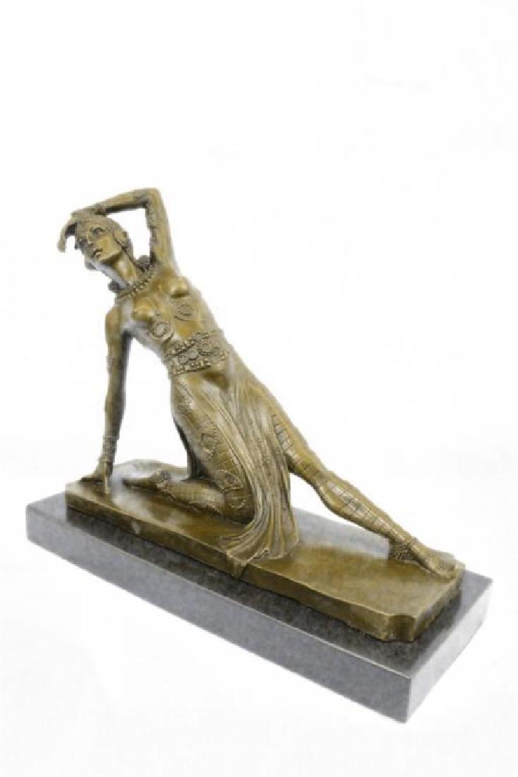 Art Deco Show Girl Dancer Bronze Sculpture Figurine - 6