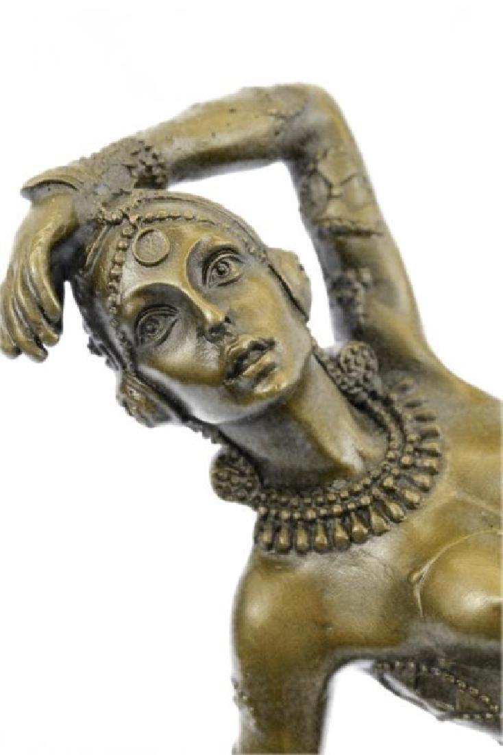 Art Deco Show Girl Dancer Bronze Sculpture Figurine - 7