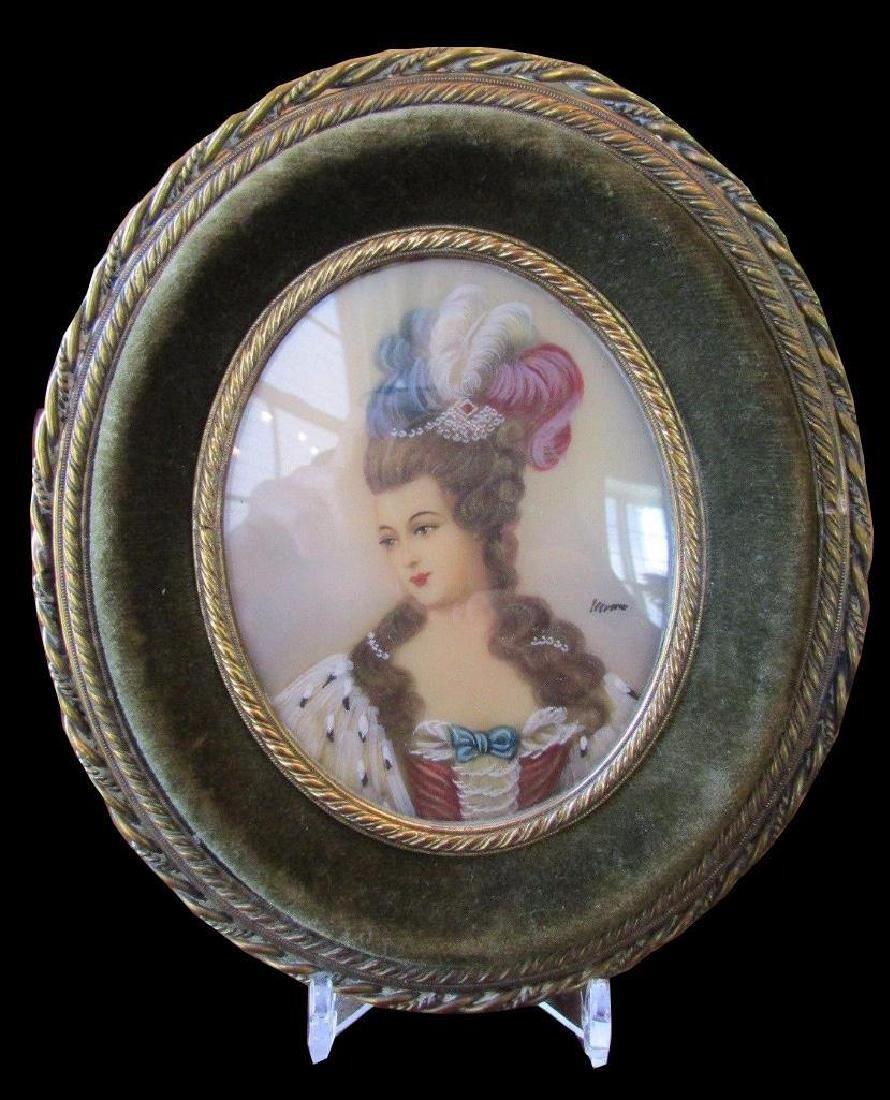 Antique Hand-painted Signed Portrait Miniature