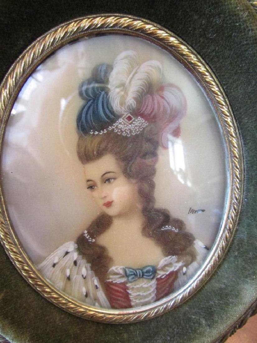 Antique Hand-painted Signed Portrait Miniature - 3