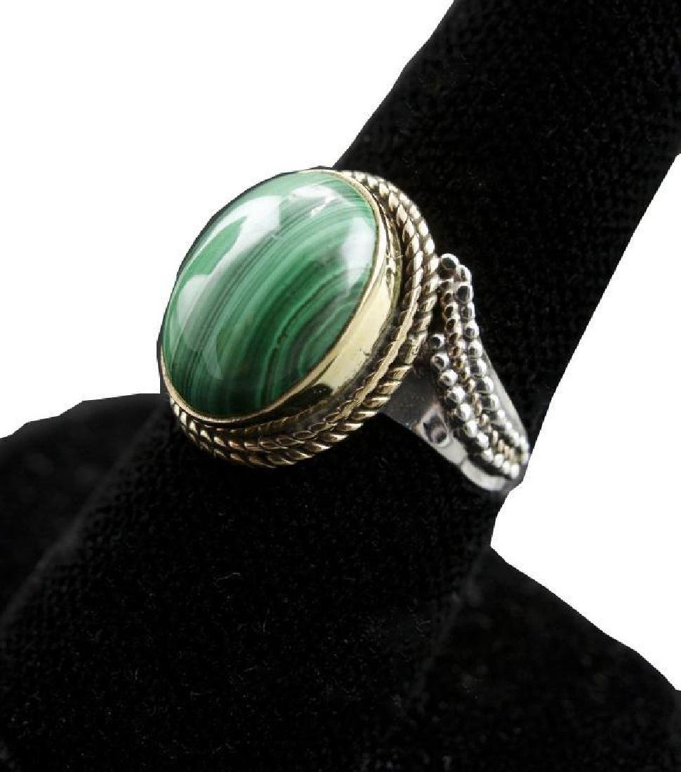 7.33ct Green Malachite & Sterling Silver Ring