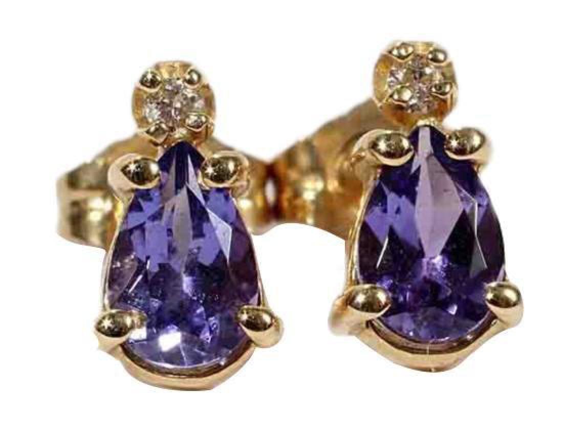 14kt Pear Shape Tanzanite & Diamond Earrings