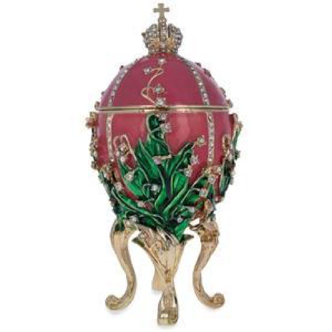 """1898 Lily of the Valley Faberge Egg 6.25"""""""