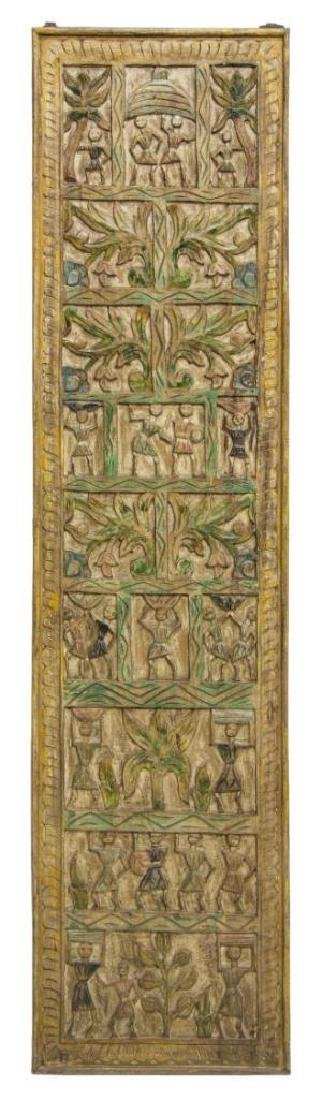 Architectural Figural Carved Polychrome Wall Panel