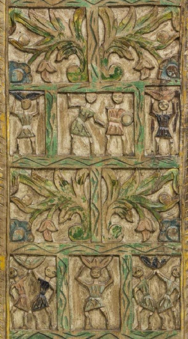 Architectural Figural Carved Polychrome Wall Panel - 2