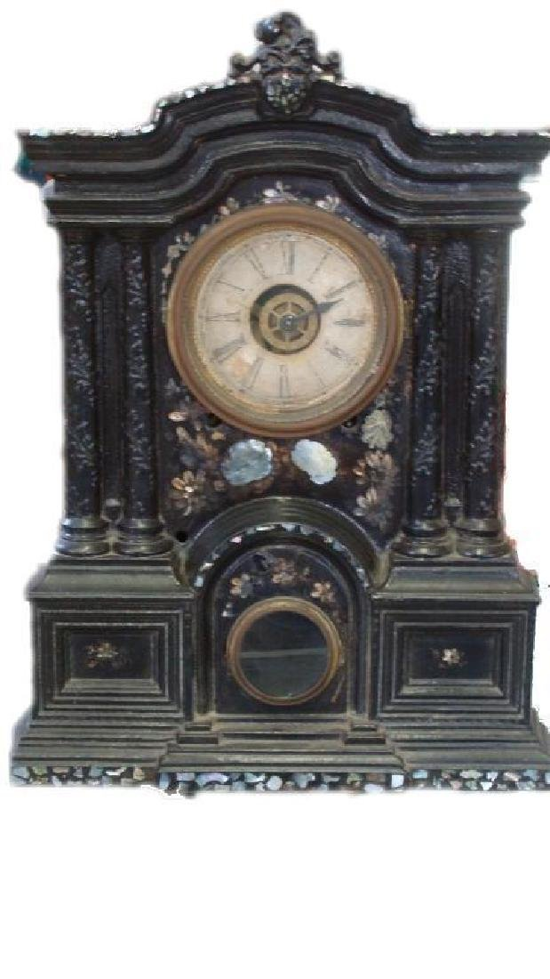 Exquisite 19thc Cast Iron Ansonia Mantel Clock - 2
