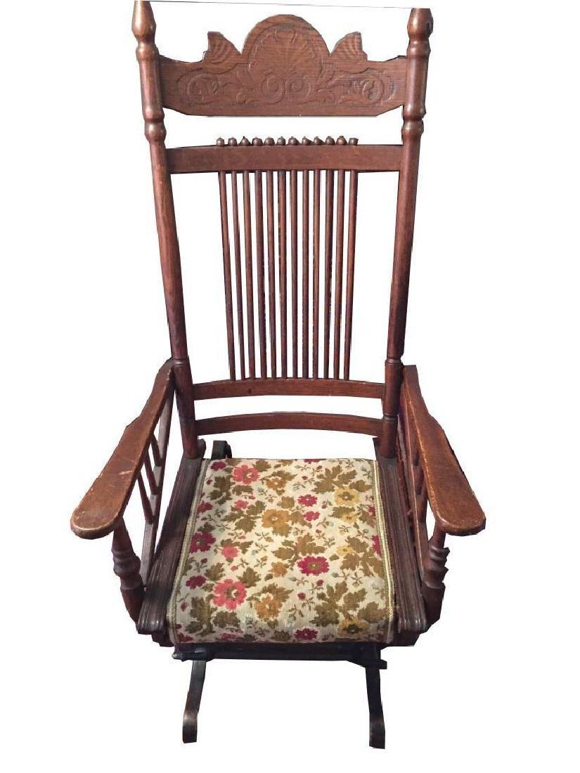 Late 19thc Victorian Oak Glyder Rocking Chair - 2