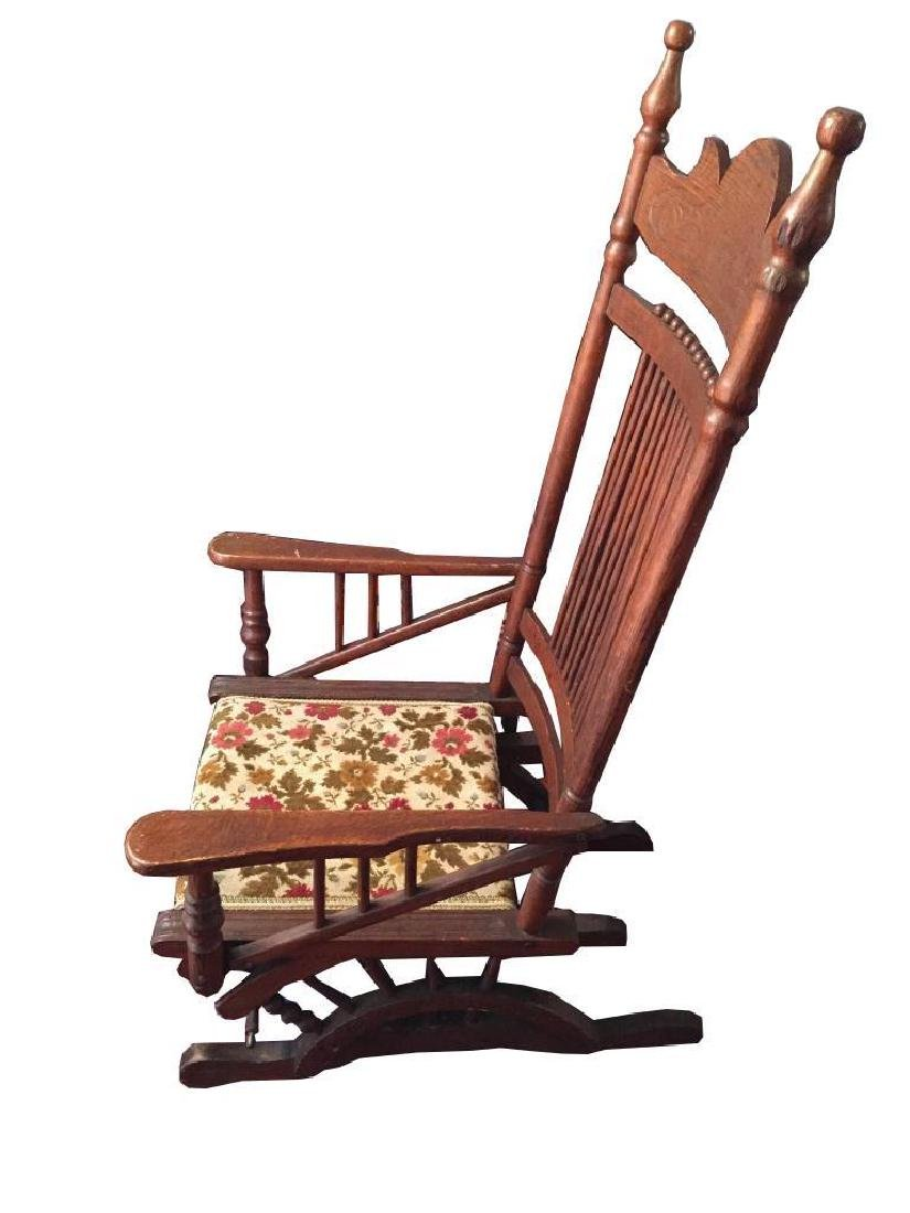 Late 19thc Victorian Oak Glyder Rocking Chair - 3
