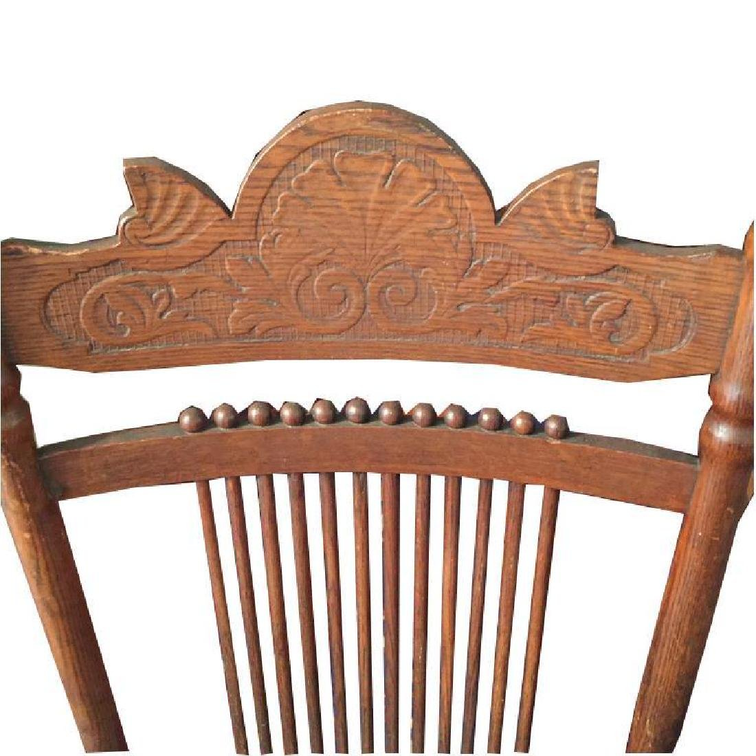 Late 19thc Victorian Oak Glyder Rocking Chair - 5