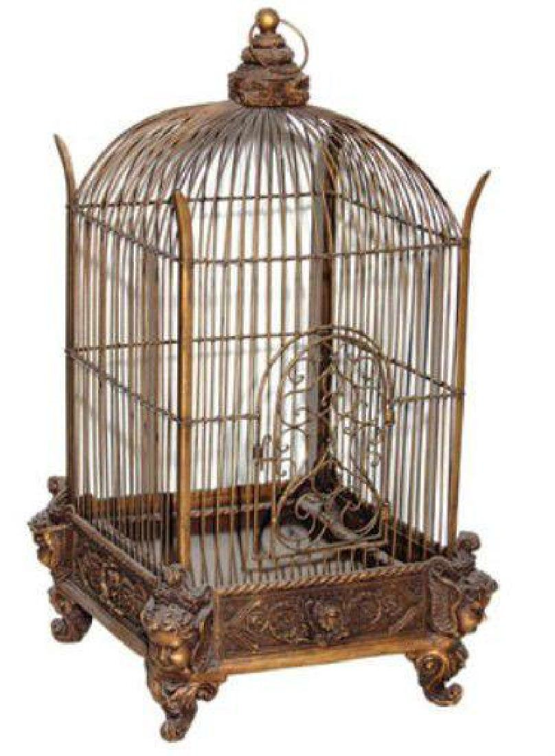 Ornate Victorian Bronze Conservatory Bird Cage