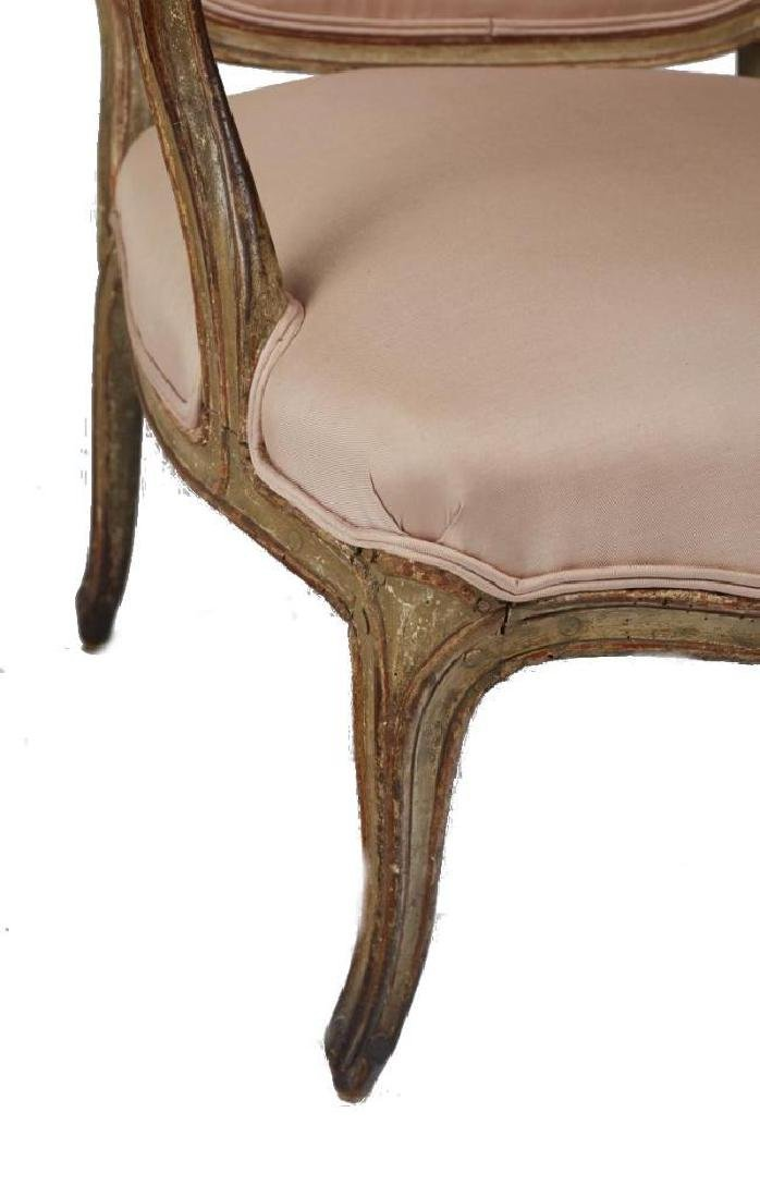 Antique French Louis Xv Carved Painted Armchair - 3