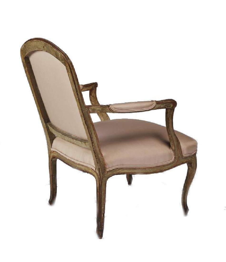 Antique French Louis Xv Carved Painted Armchair - 4