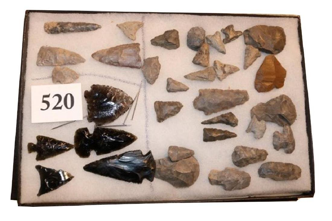 Frame With 30 Flint And 5 Obsidian Points