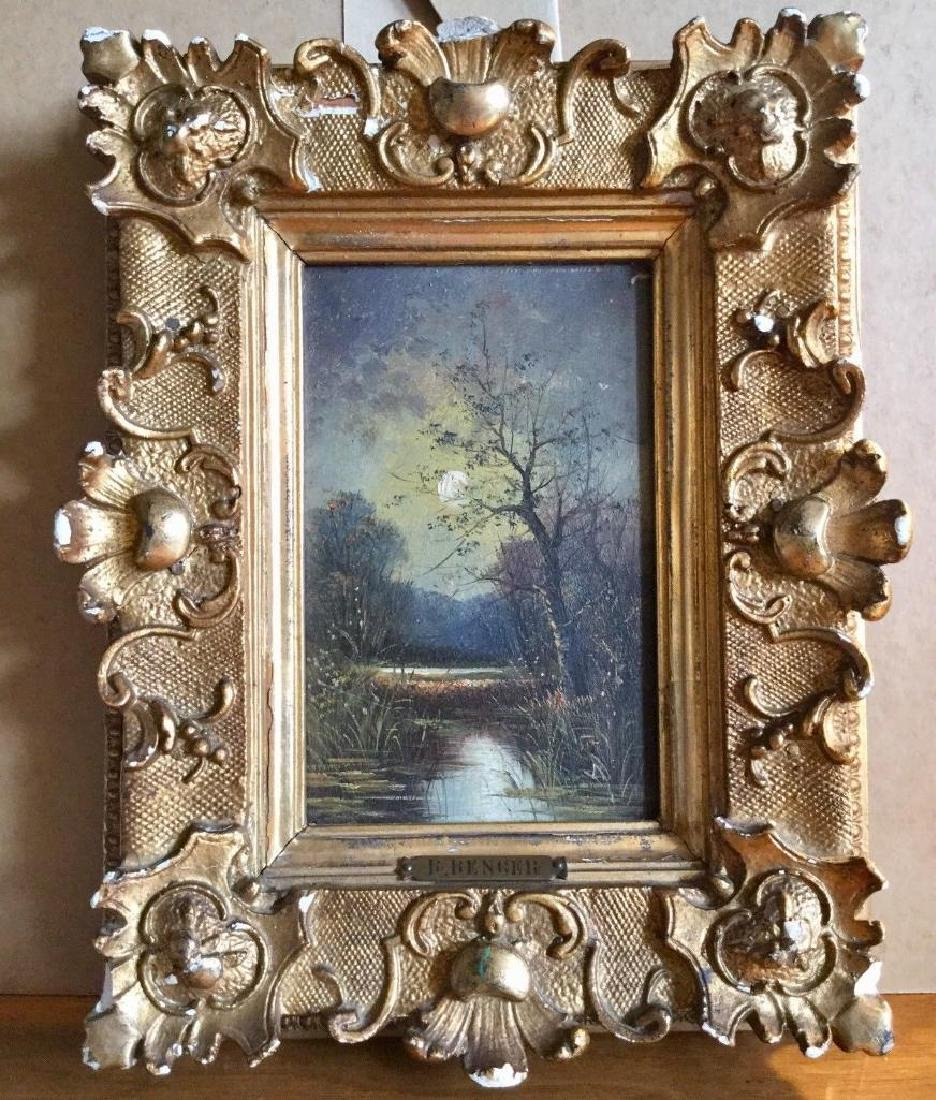 Antique 1833 Oil On Board English Sunset by R. Benger,