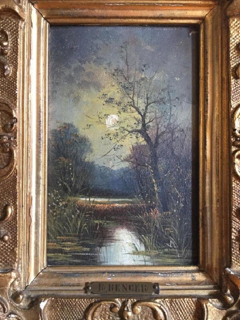 Antique 1833 Oil On Board English Sunset by R. Benger, - 2