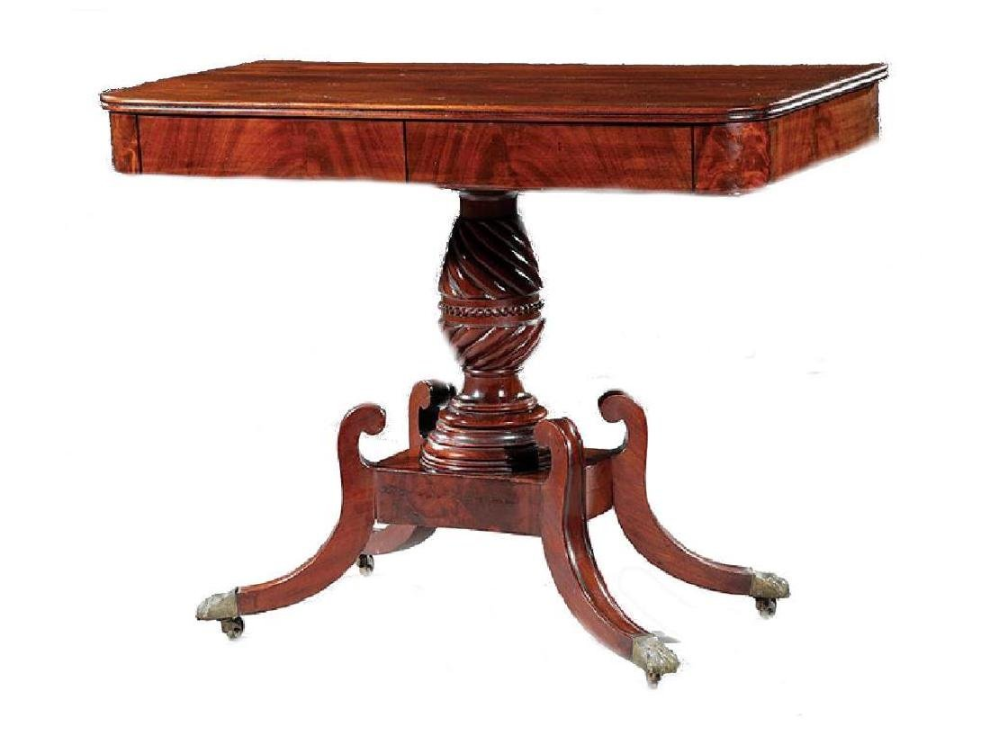American Late Federal Carved Mahogany Side Table