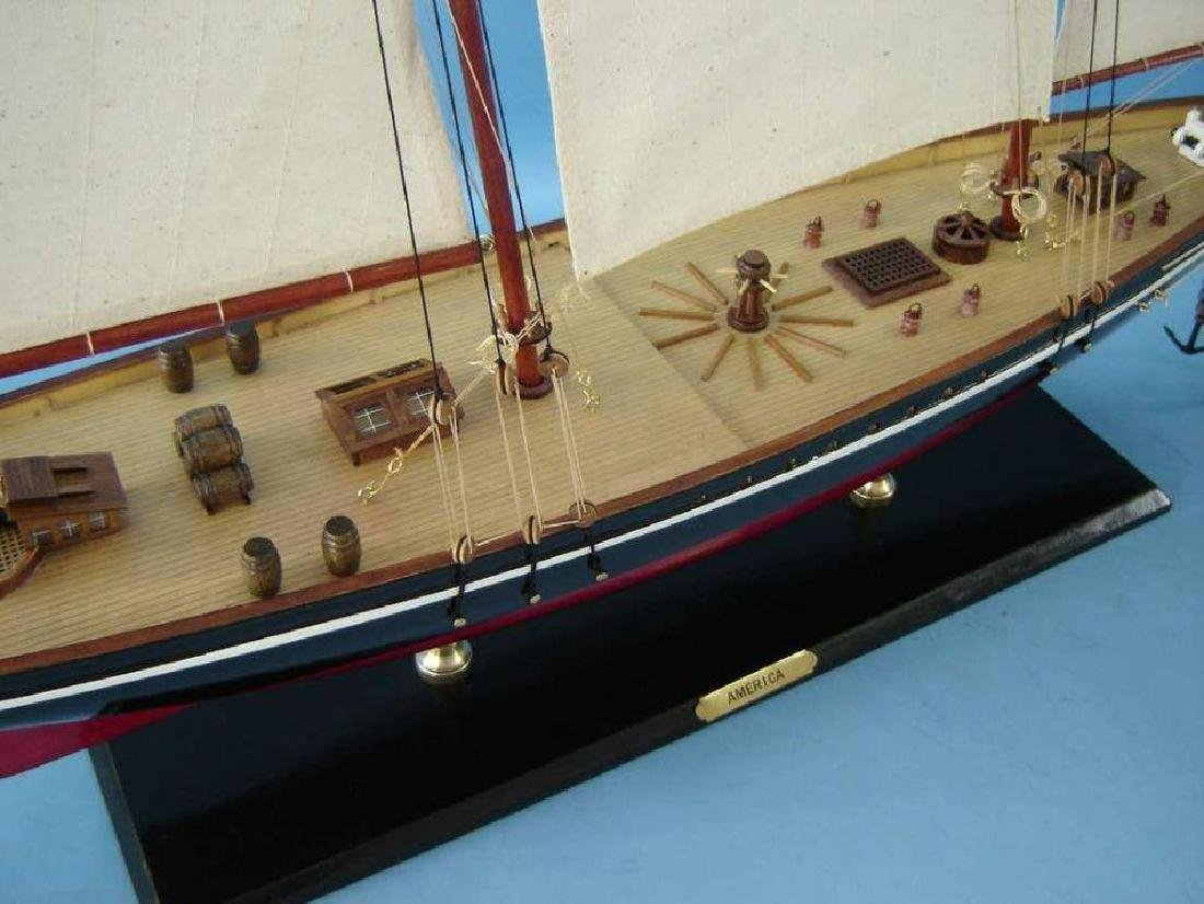 """Wooden America Model Sailboat Decoration 50"""" Limited - 11"""