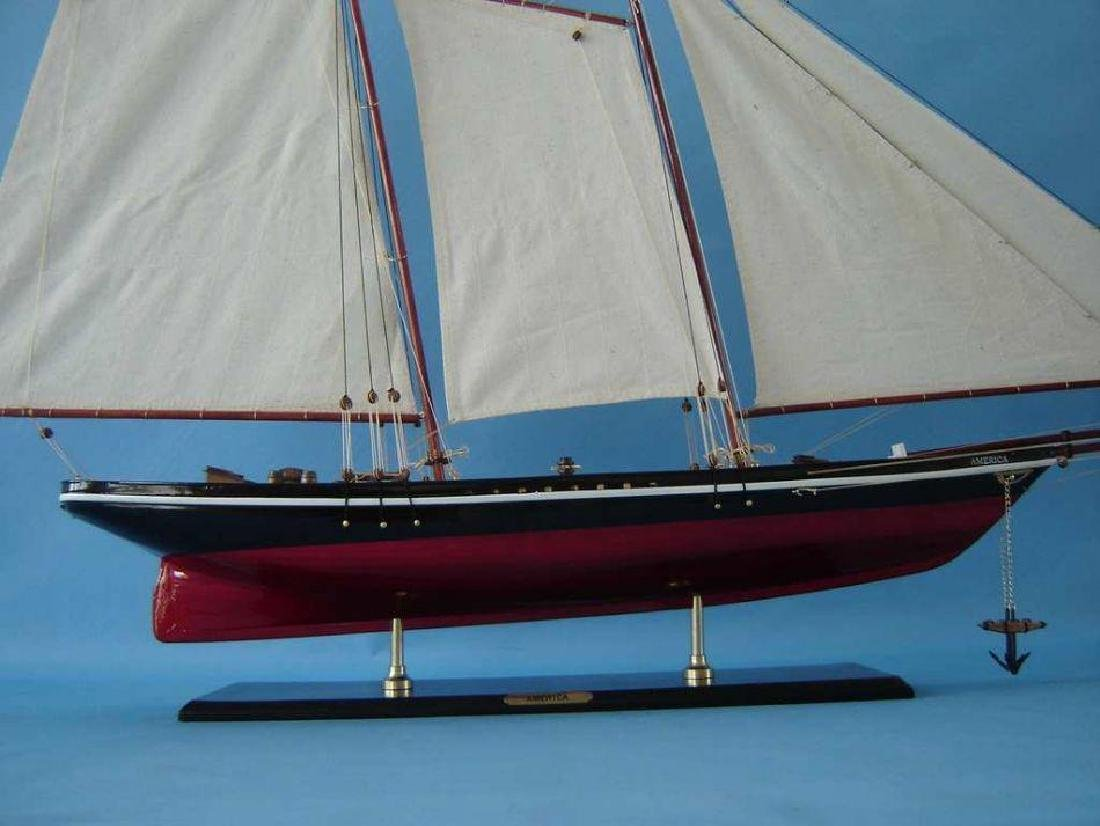 """Wooden America Model Sailboat Decoration 50"""" Limited - 3"""