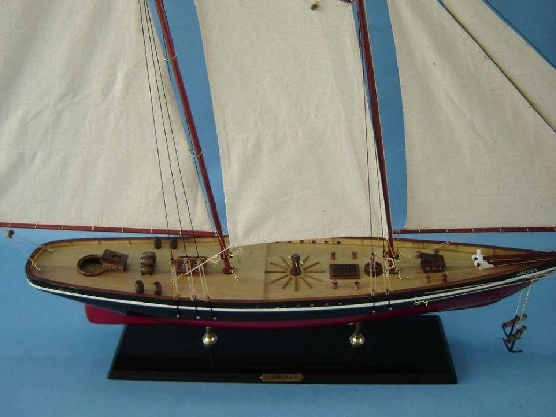 "Wooden America Model Sailboat Decoration 50"" Limited - 4"