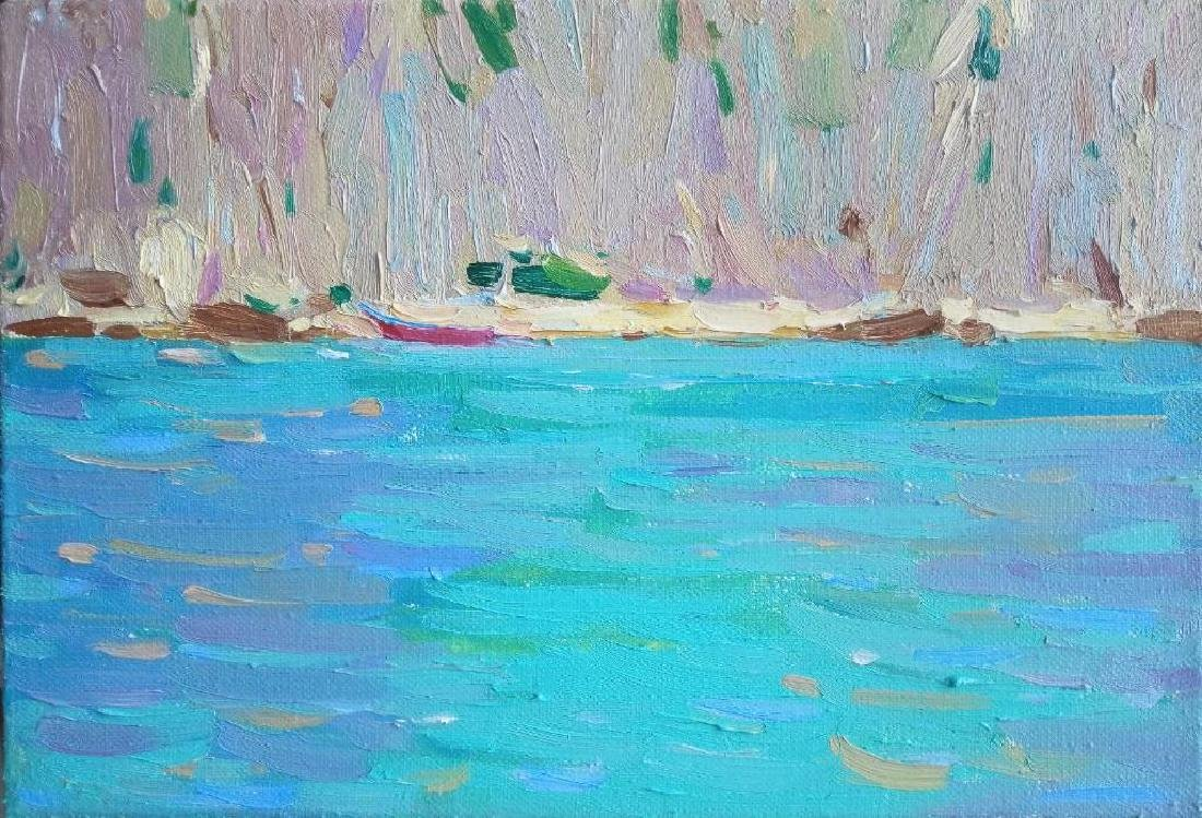 Small original oil painting Plein Air Blue Seascape
