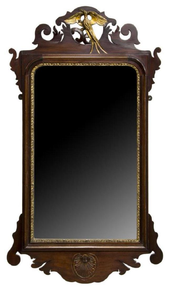 Chippendale Parcel Gilt Carved Mahogany Mirror