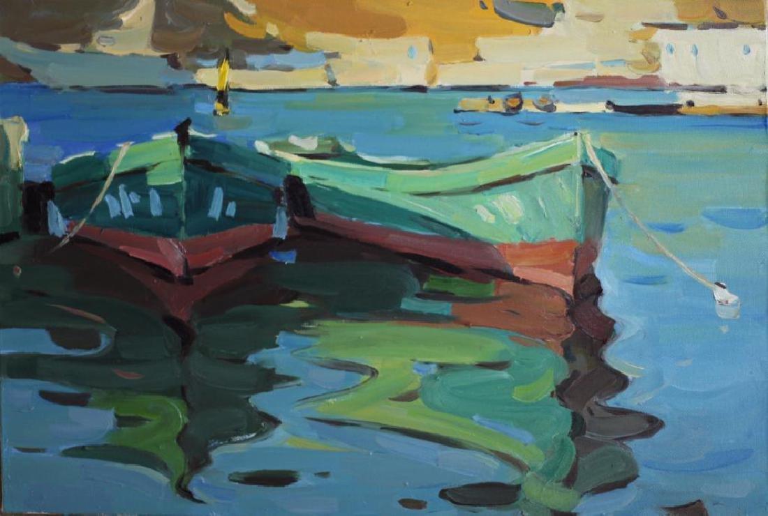 Original Oil Painting Plein Air Barcas Seascape On