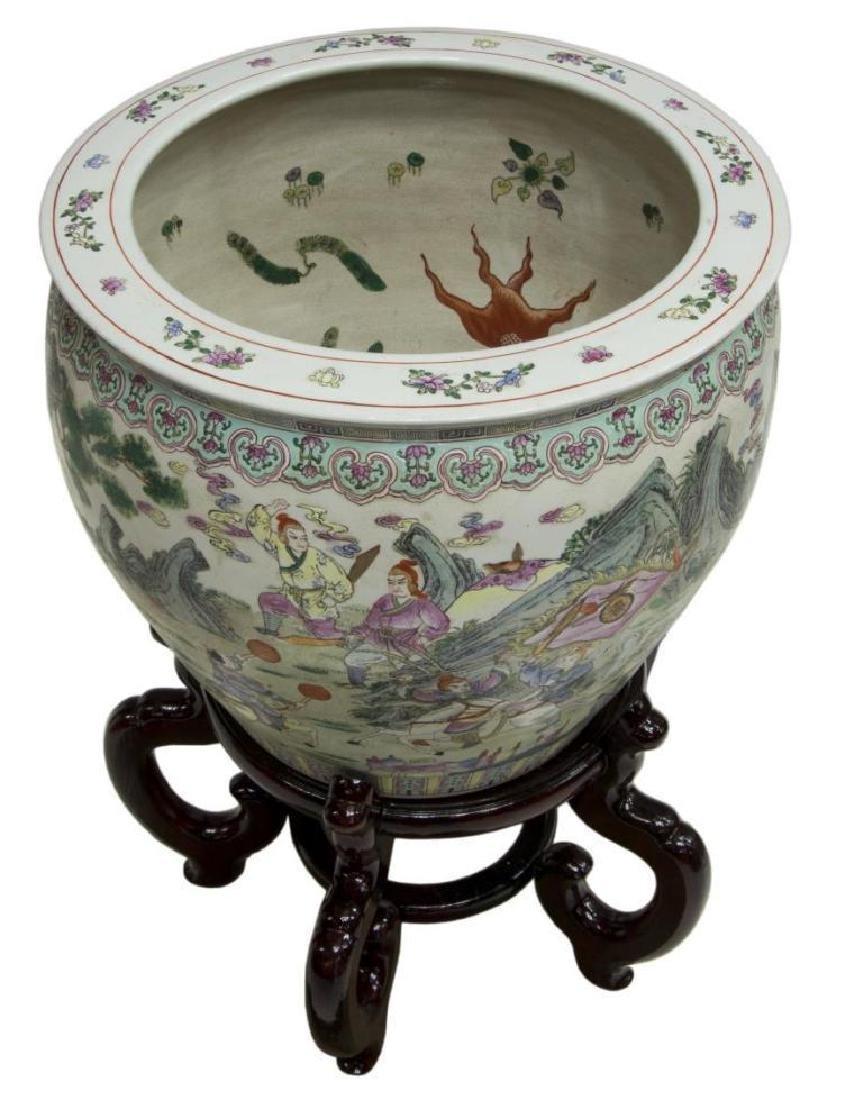 Chinese Famille Rose Enameled Porcelain Fish Bowl - 2