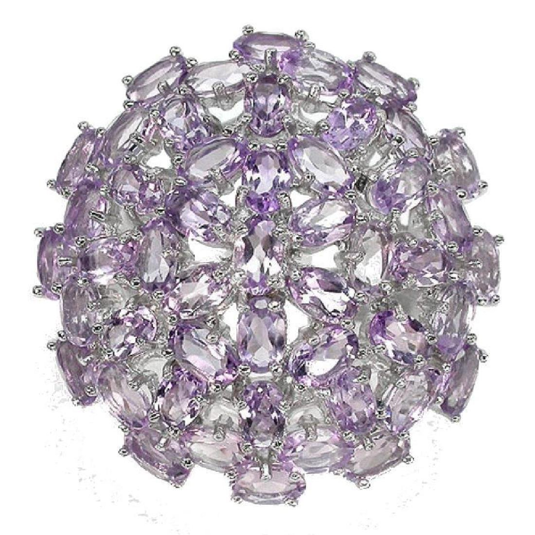 Amethyst & Sterling Dome Cocktail Ring