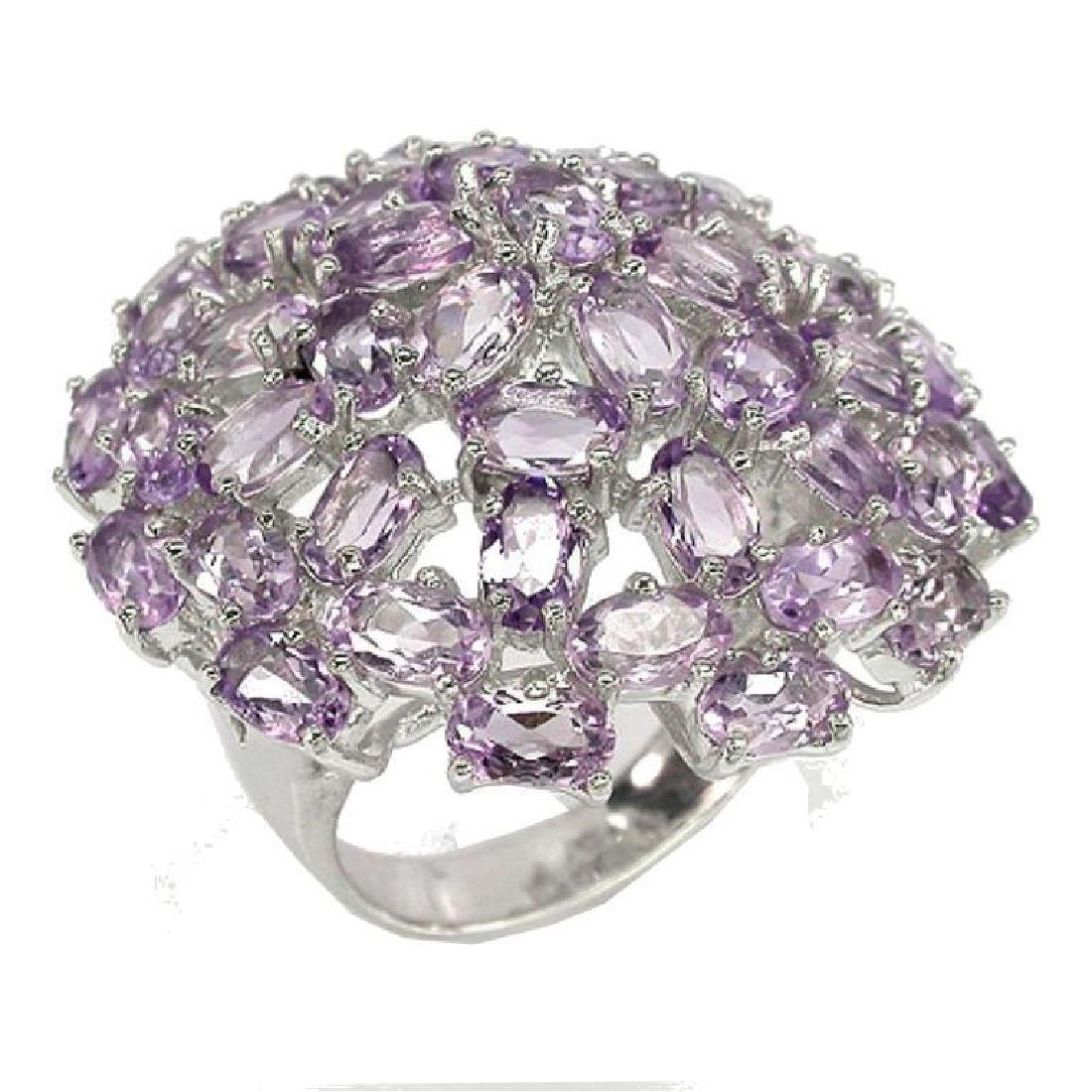 Amethyst & Sterling Dome Cocktail Ring - 2