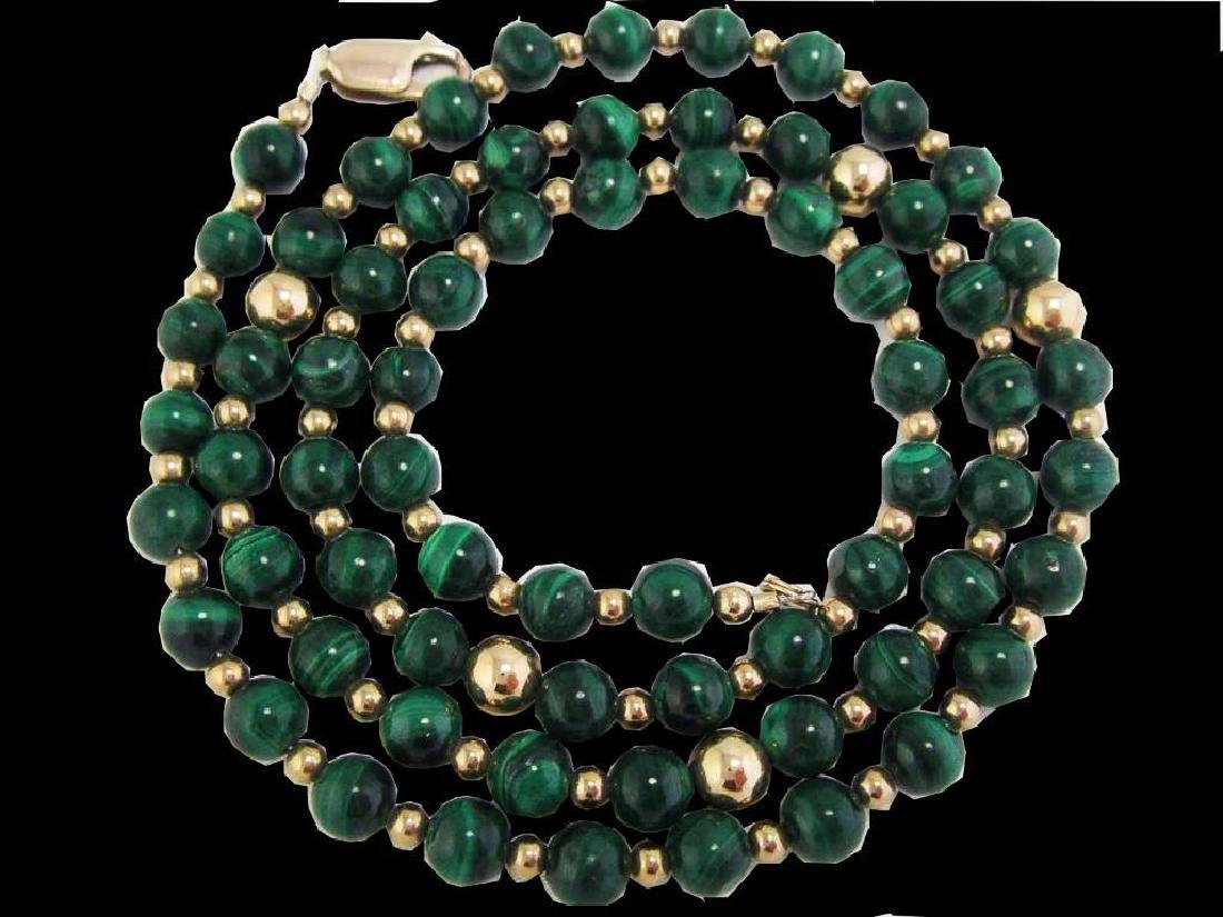 Vintage 14k GF Genuine GREEN MALACHITE Gemstone Beaded