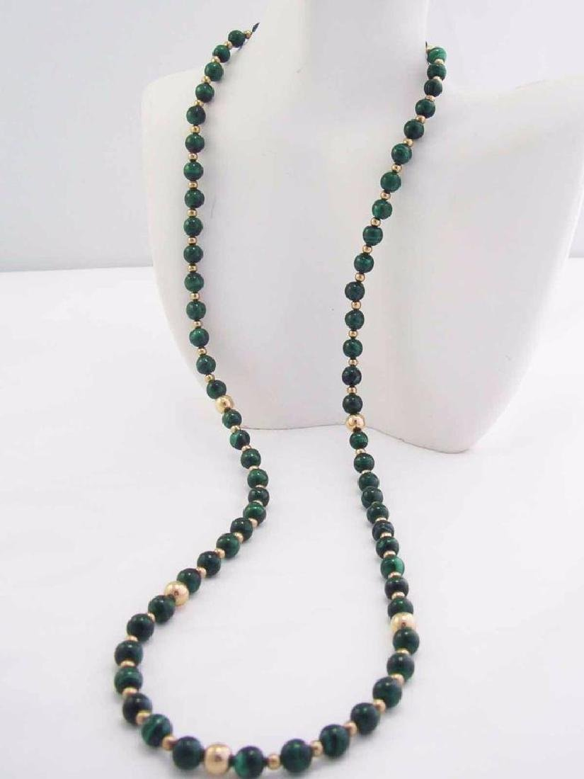 Vintage 14k GF Genuine GREEN MALACHITE Gemstone Beaded - 3