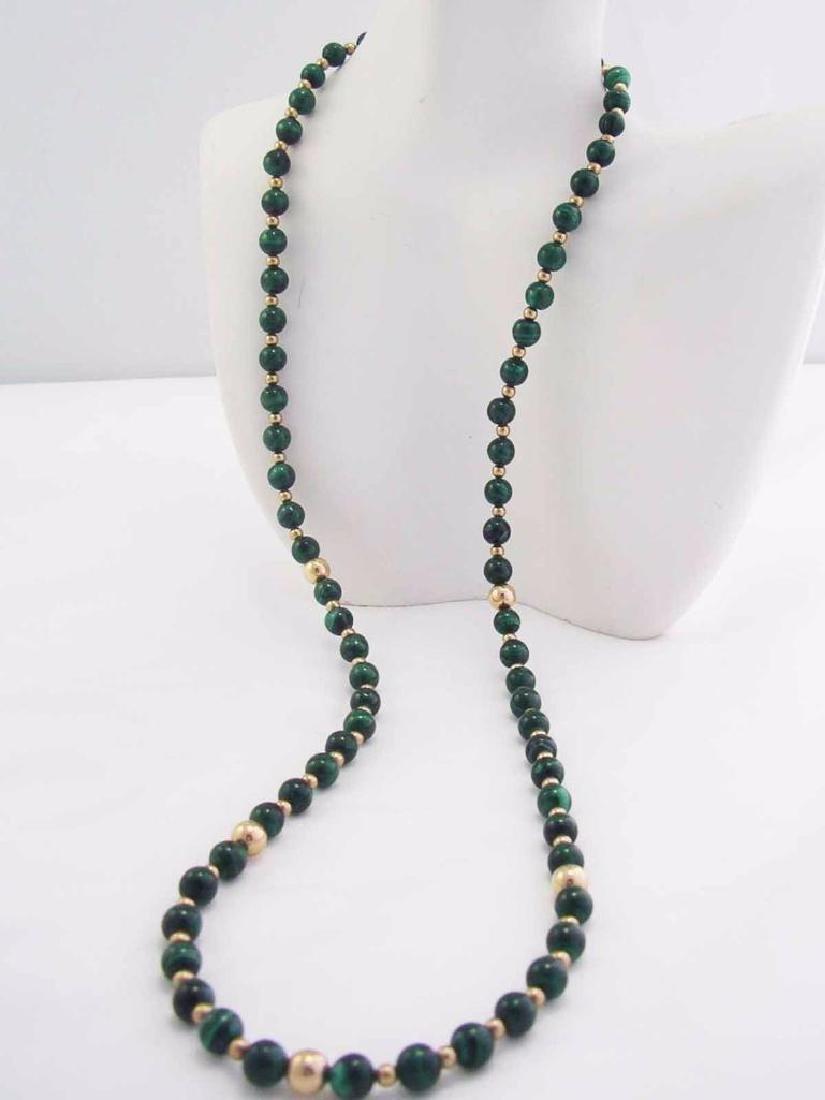 Vintage 14k GF Genuine GREEN MALACHITE Gemstone Beaded - 3