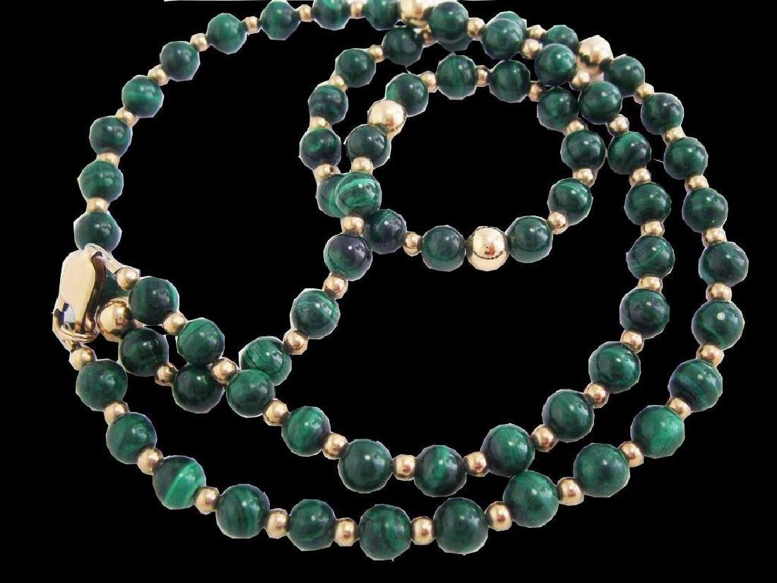 Vintage 14k GF Genuine GREEN MALACHITE Gemstone Beaded - 4