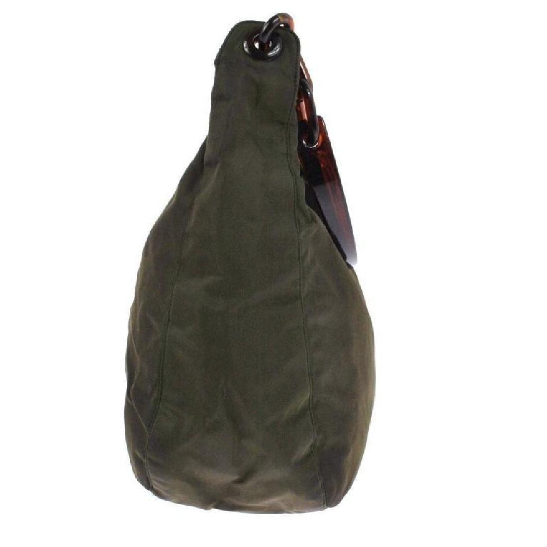Authentic PRADA Nylon Olive Brown Purse Bag - 2