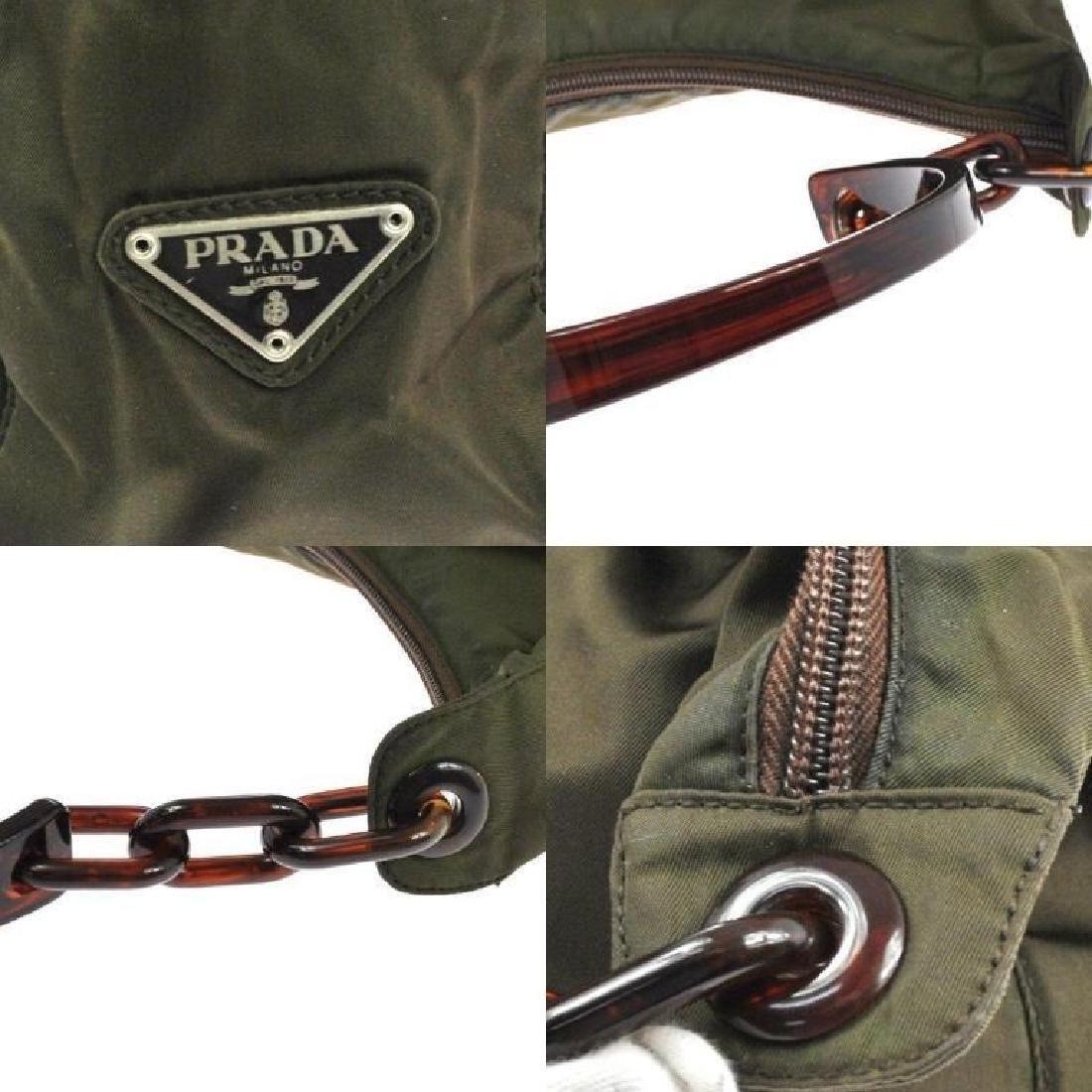 Authentic PRADA Nylon Olive Brown Purse Bag - 4