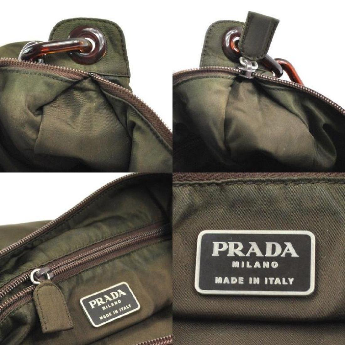 Authentic PRADA Nylon Olive Brown Purse Bag - 5