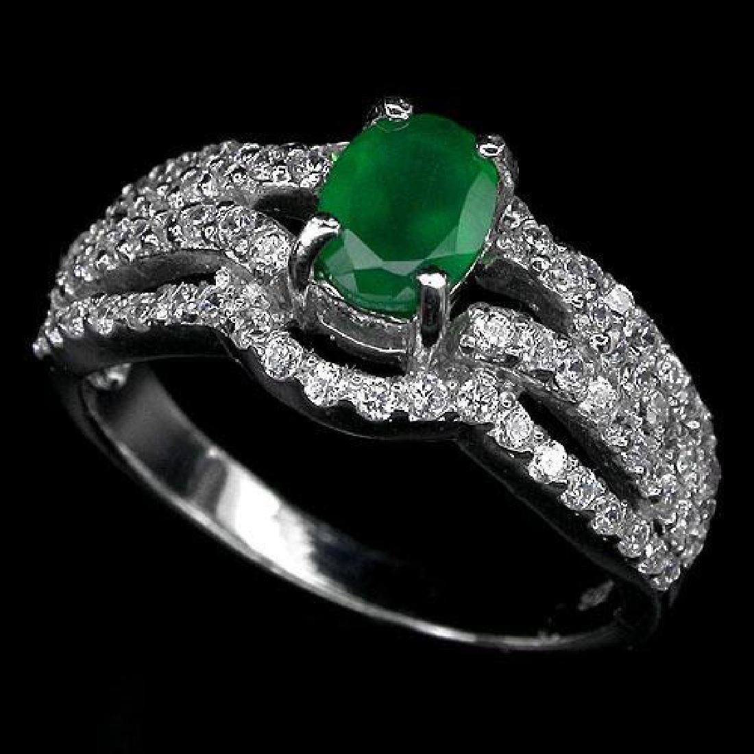 Elegant Green Aventurine Sterling Silver Ring