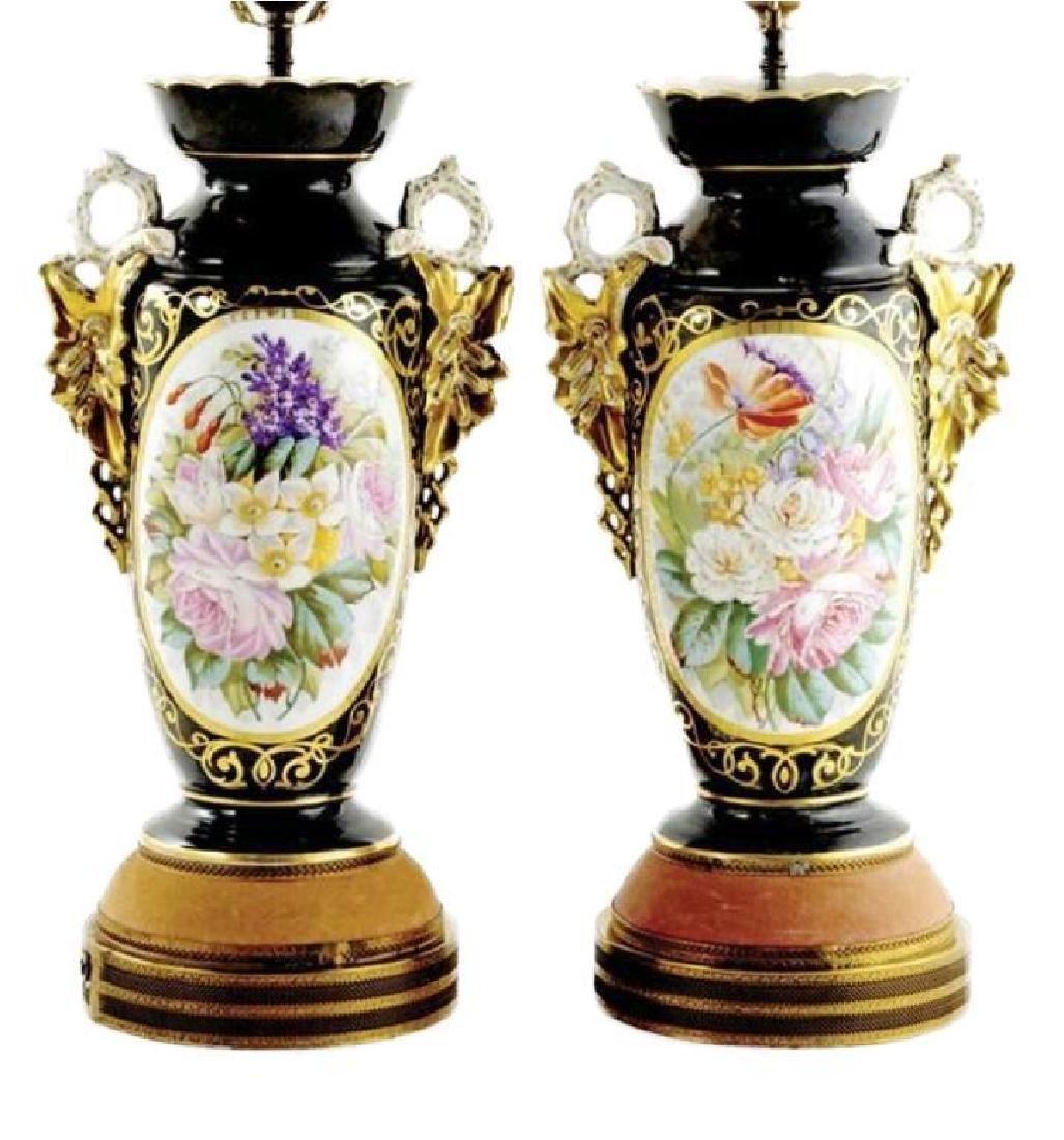 Early 20thc Pair of Paris Porcelain Vases, Lamps