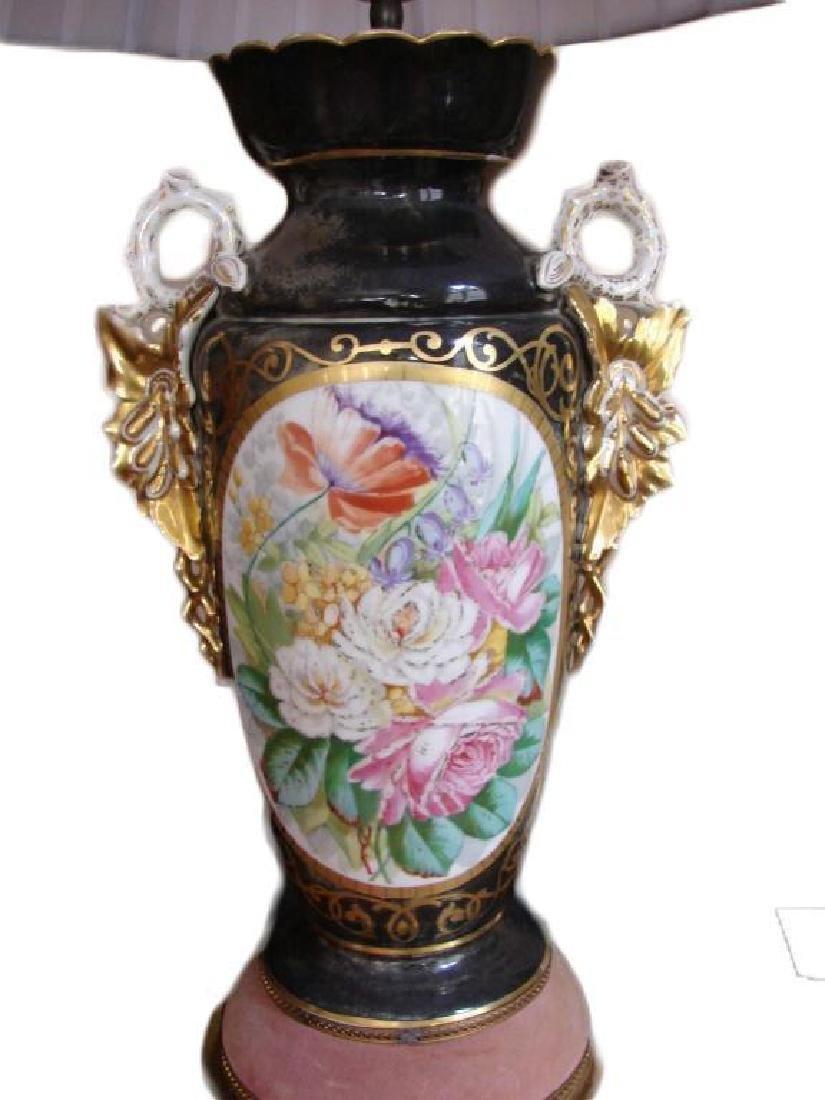 Early 20thc Pair of Paris Porcelain Vases, Lamps - 2