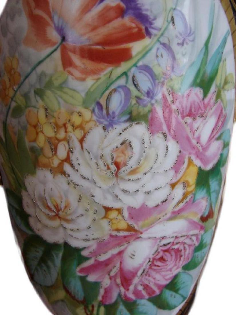 Early 20thc Pair of Paris Porcelain Vases, Lamps - 3
