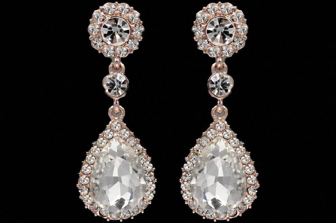 ROSE GOLD Plated Clear Crystal Rhinestone Wedding Drop