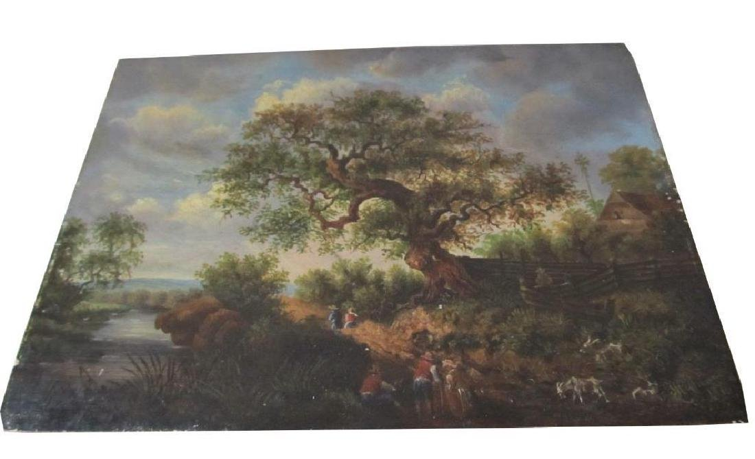 1878 Bucolic Oil Painting On Board Hoffmann - 4