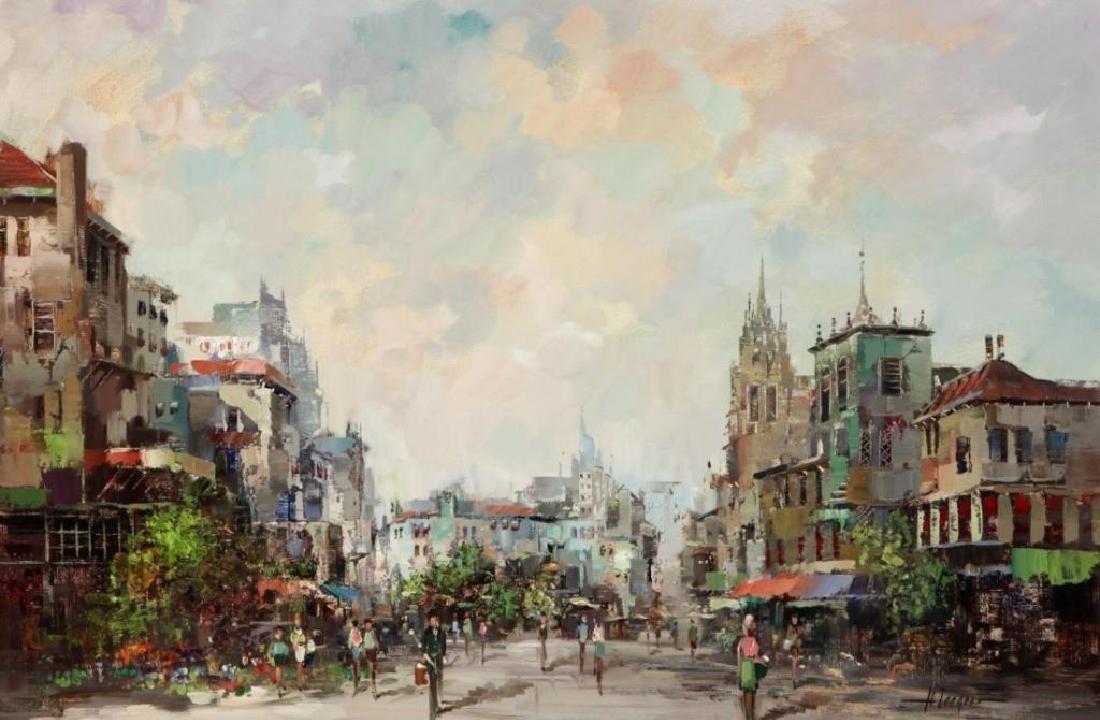Signed Oil On Canvas, European Street Scene - 2