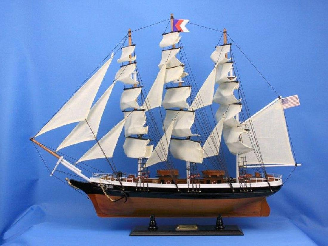 "Wooden Flying Cloud Tall Model Clipper Ship 30"" - 5"