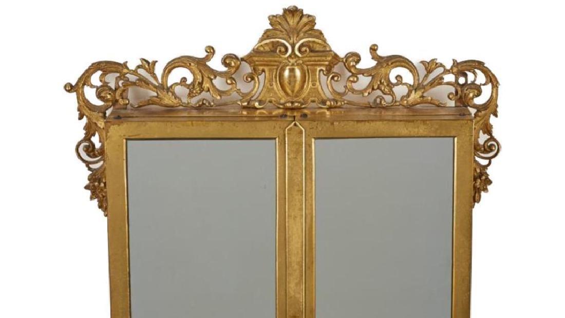 French 19c Gilt Brass Folding Vanity Mirror - 2