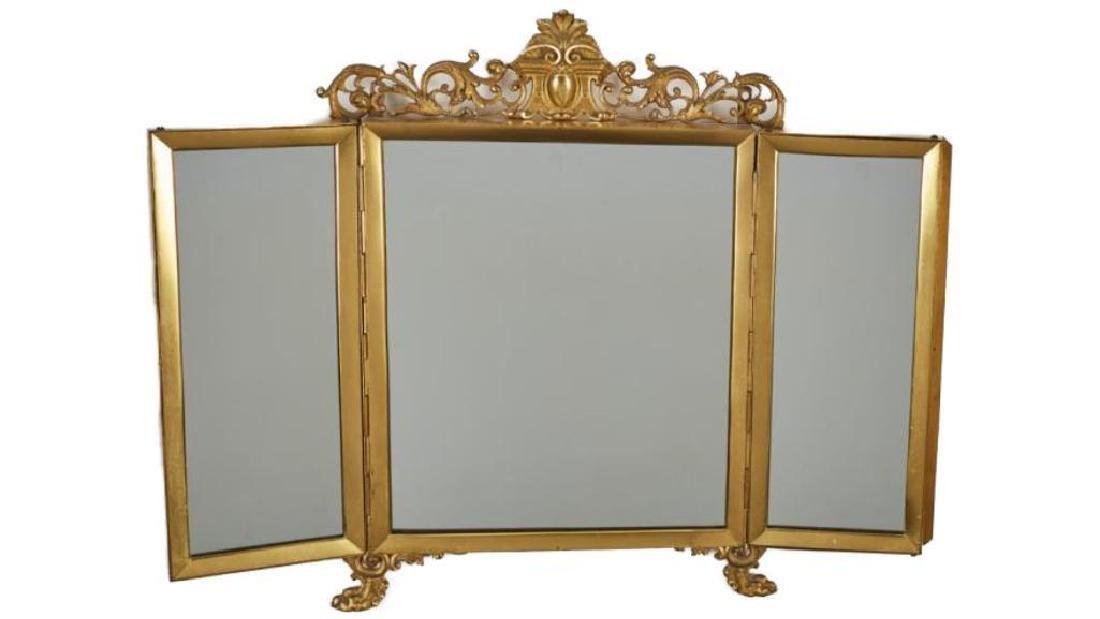 French 19c Gilt Brass Folding Vanity Mirror - 3