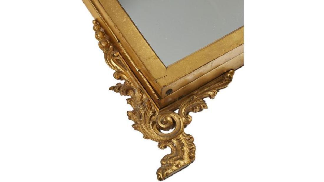 French 19c Gilt Brass Folding Vanity Mirror - 5