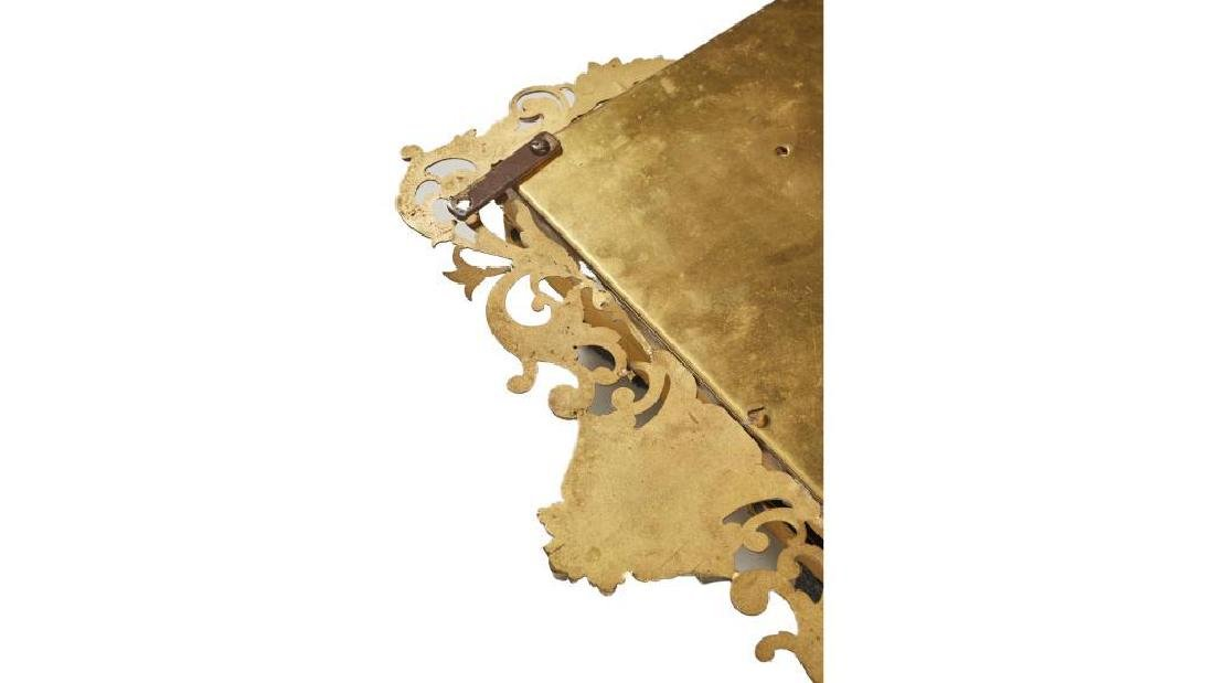 French 19c Gilt Brass Folding Vanity Mirror - 7